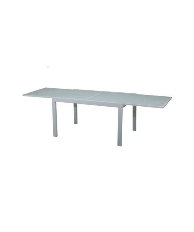 Tavolo Selinunte allungabile in alluminio e piano in vetro