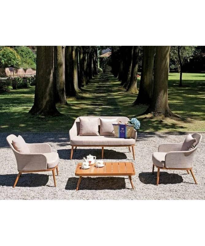 Salotto da giardino Albissola in alluminio effetto legno