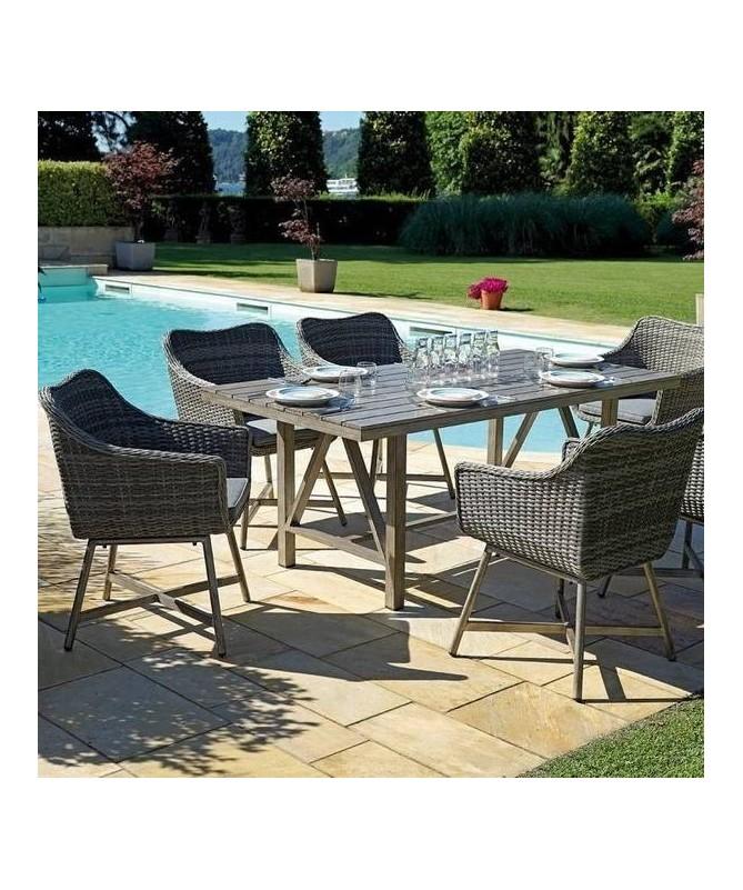Set da giardino Toledo con 6 poltrone e tavolo
