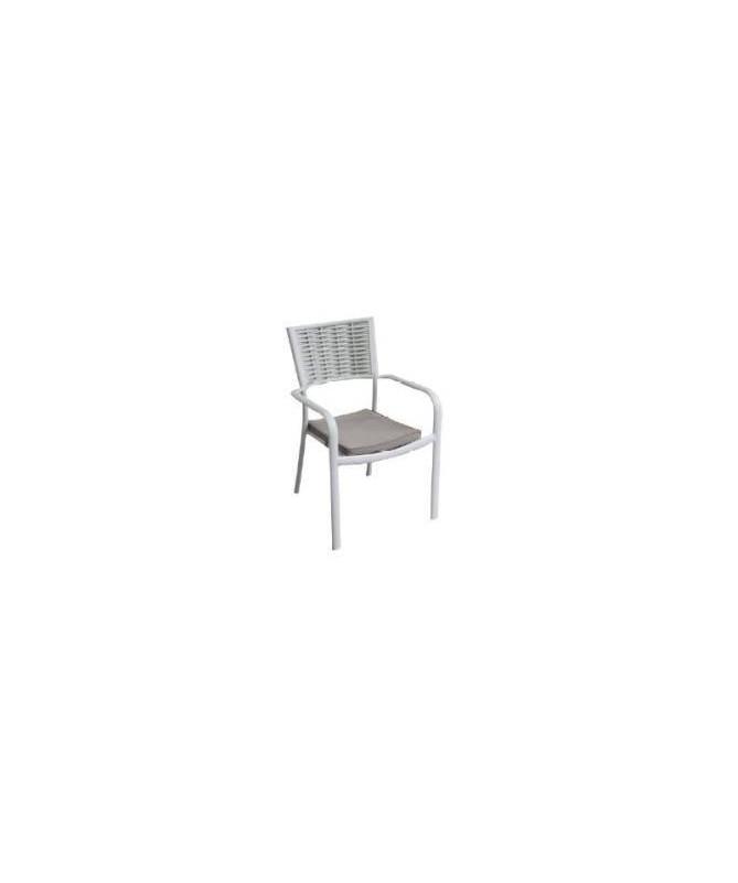 Sedia in alluminio e wicker - set da 2 avorio