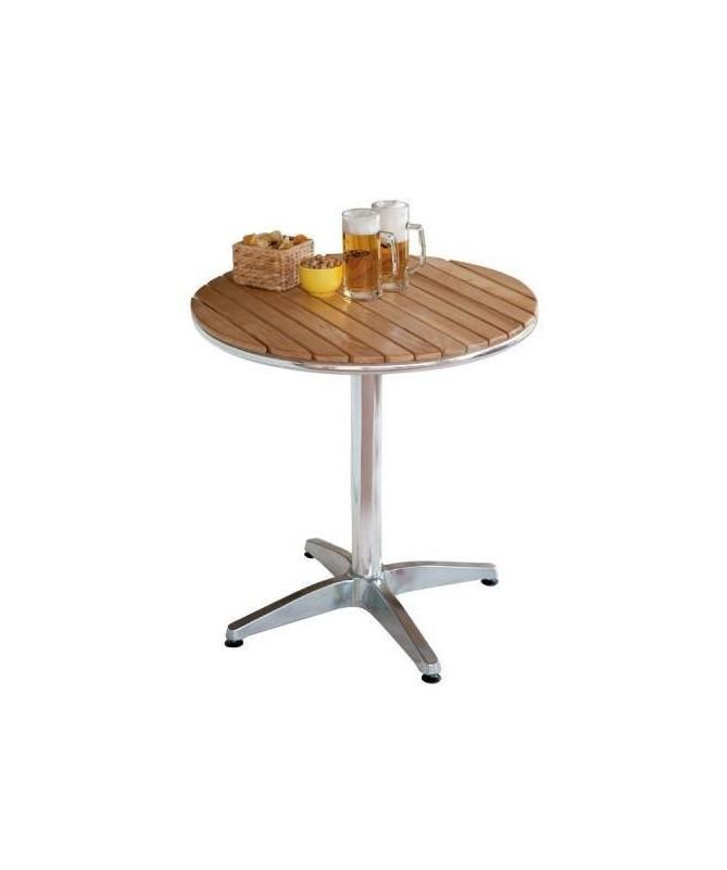 Tavolo rotondo in alluminio con piano in quercia