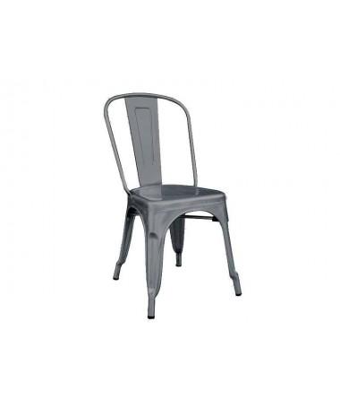 Sedia in lamiera galvanizzata - set da 2 grigio piombo