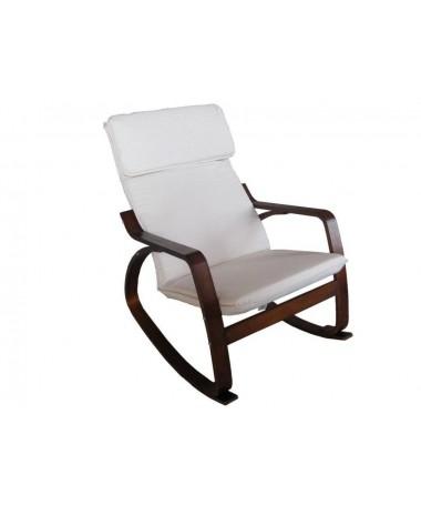 Sedia a dondolo imbottito con cuscino - bianco