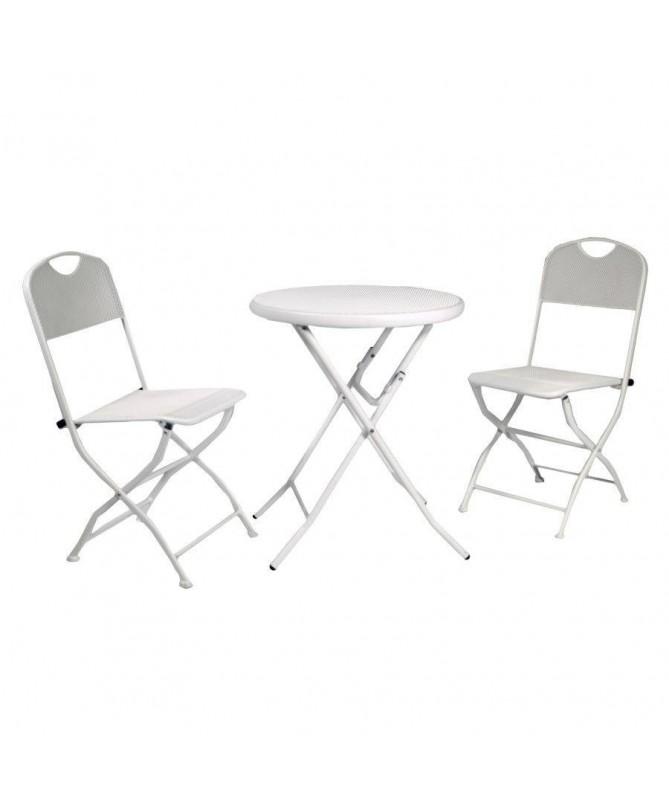 Tavolo Rimini tondo con due sedie pieghevoli - bianco
