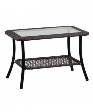 Tavolino da giardino Providence in polyrattan - grigio