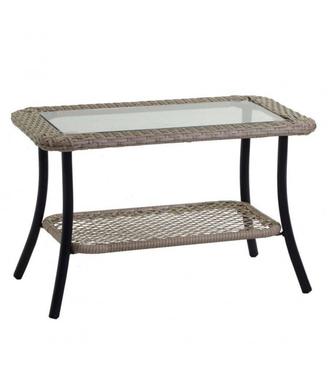 Tavolino da giardino Providence in polyrattan - crema