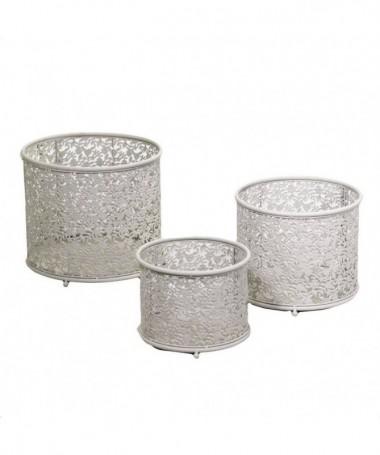 Portavaso in metallo rotondo con fiori - set da 3 crema
