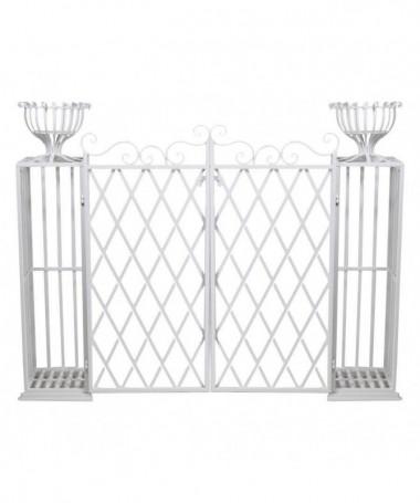 Portavaso in metallo cancello - bianco