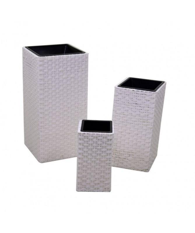 Portavaso in polyrattan quadrato - set da 3 bianco