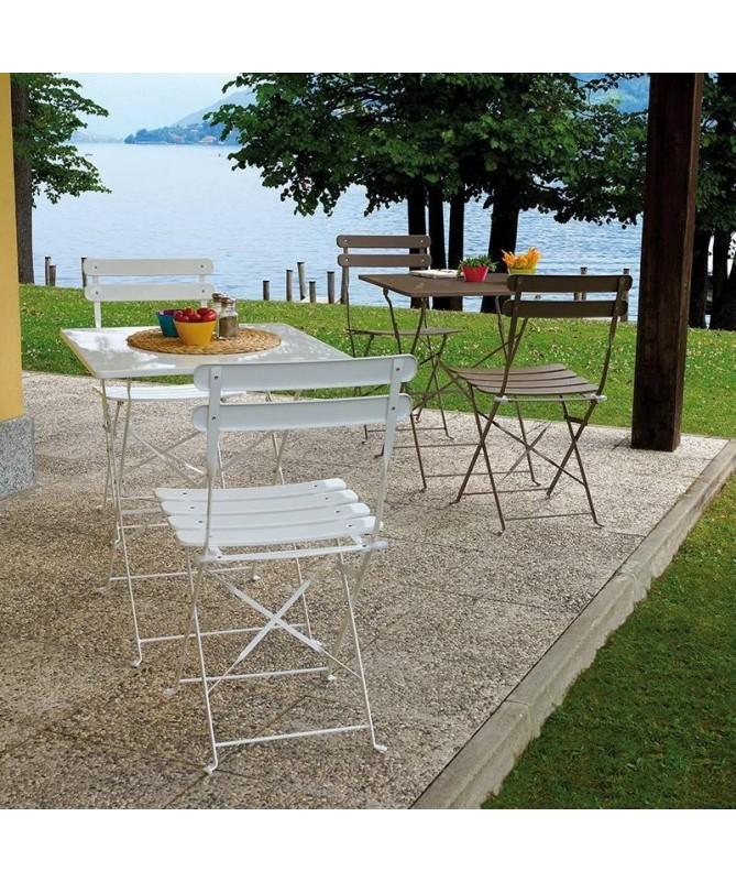 Tavolo con due sedie Bistrò in ferro - tortora
