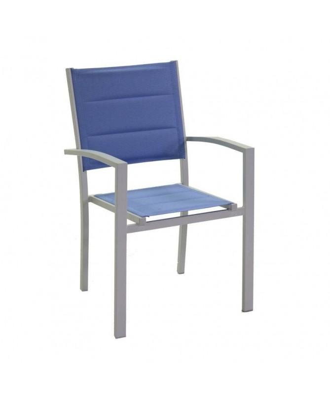 Poltrona in alluminio e textilene Ontario - set da 2 azzurro