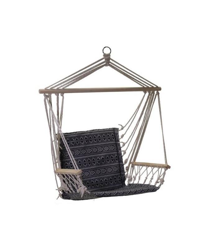 Sedia dondolo da giardino in tessuto nero e bianco con braccioli