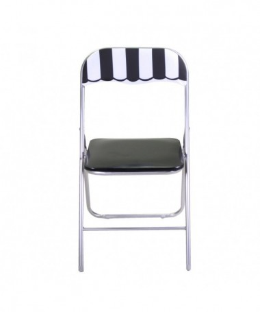 Salottino con tavolo metallo cafe quadrato e due sedie pieghevoli