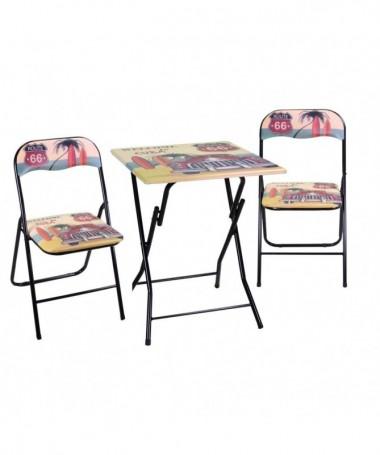 Tavolo metallo nero modello cuba con due sedie - pieghevole