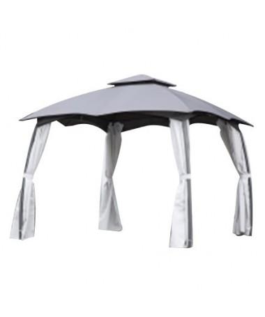 Gazebo acciaio Louisiana 3 x 3 m con doppio tetto e tende laterali in poliestere
