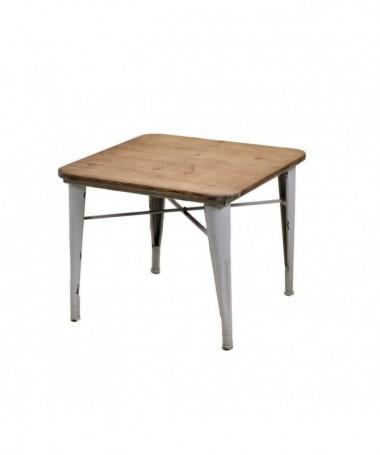 Tavolo in metallo con top in legno Edimburgo quadrato