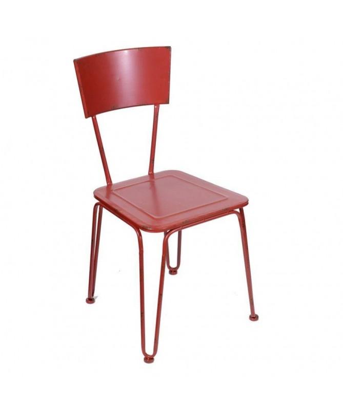 Sedia vintage in metallo - set da 2 rosso