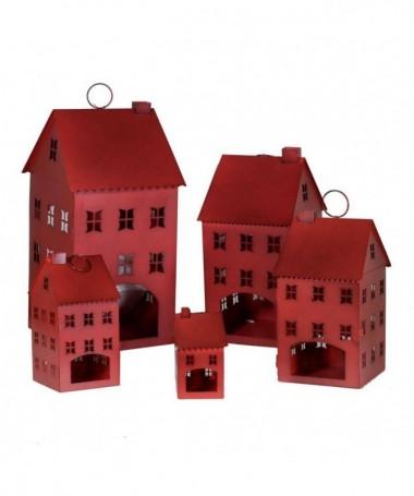 Lanterne in metallo - 5 pezzi rosso