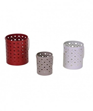 Portacandele in metallo con cuori - set d 6