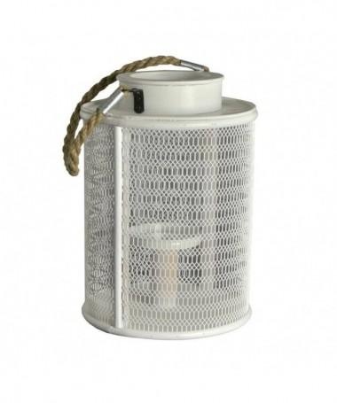 Lanterna in metallo bianco con manico